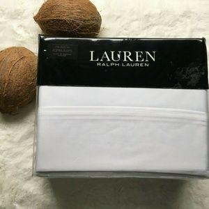 LRL White DUNHAM Cotton Sateen KING Sheet Set